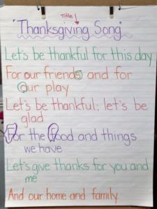 Creative Arts Thanksgiving song